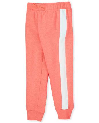 Pantalón jogger de polar con rayas laterales para niñas