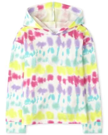Sudadera con capucha de felpa estampada para niñas