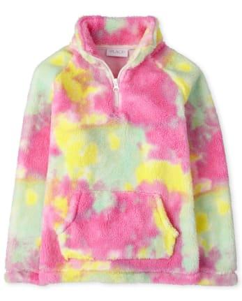 Girls Tie Dye Sherpa Half Zip Mock Neck Pullover