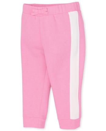 Pantalones jogger de felpa con rayas laterales para bebés y niñas pequeñas