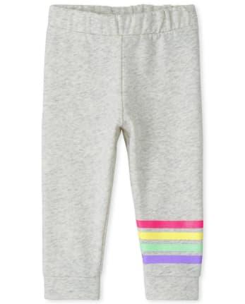Pantalones joggers de polar arcoíris para bebés y niñas pequeñas