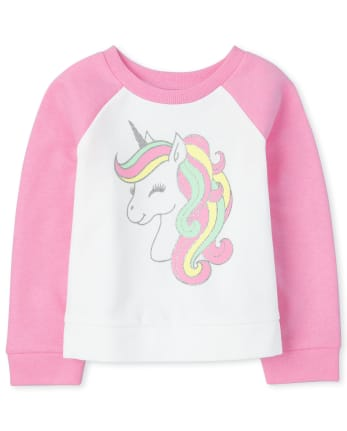 Baby And Toddler Girls Unicorn Raglan Sweatshirt