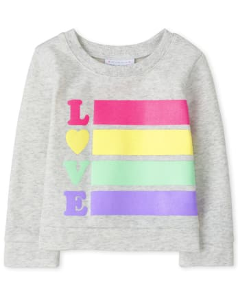 Baby And Toddler Girls Rainbow Love Sweatshirt
