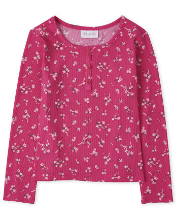 Girls Floral Rib Knit Henley Top