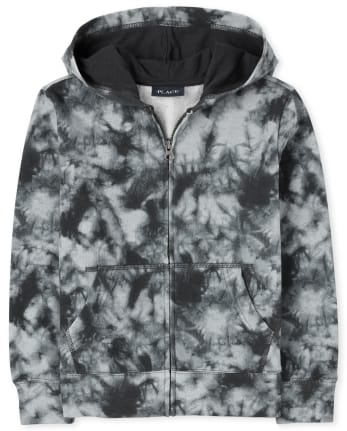 Boys Tie Dye French Terry Zip Up Hoodie