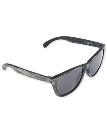 Boys Faux Wood Traveler Sunglasses