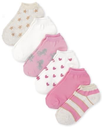Girls Metallic Ankle Socks 6-Pack