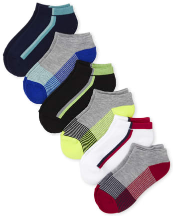 Boys Striped Cushioned Ankle Socks 6-Pack