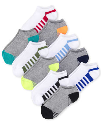 Boys Striped Cushioned Ankle Socks 10-Pack