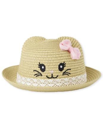Baby Girls Cat Straw Hat