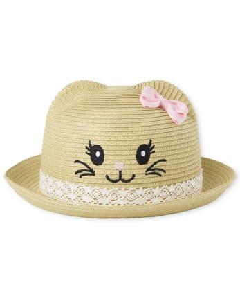 Toddler Girls Cat Straw Hat
