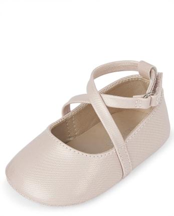 Baby Girls Shimmer Cross Strap Ballet Flats