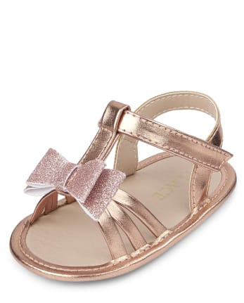 Baby Girls Metallic Glitter Bow Sandals