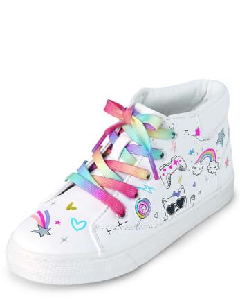 Girls Unicorn Doodle Hi Top Sneakers