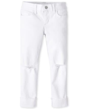 Girls Distressed Roll Cuff Jeans