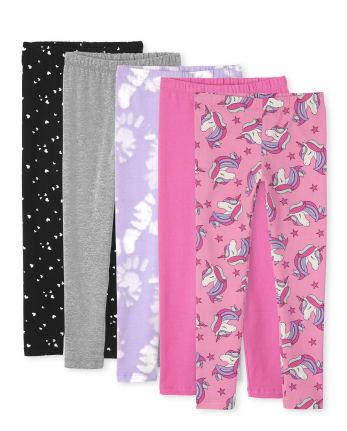 Pack de 5 leggings estampados para niñas