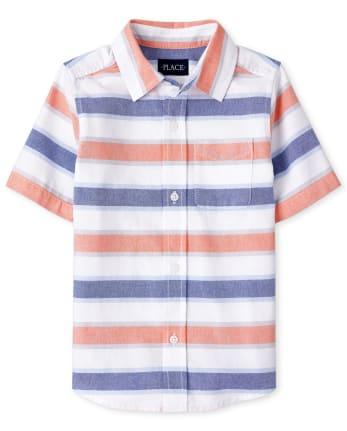 Boys Striped Oxford Button Down Shirt