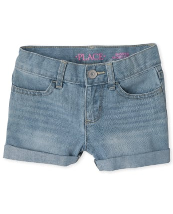 Girls Roll Cuff Denim Shortie Shorts