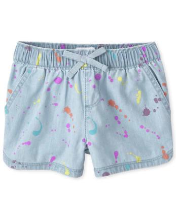 Girls Paint Splatter Denim Pull On Shorts