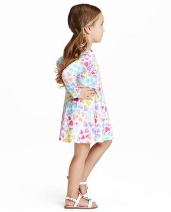 Infantil Vestido Skater Floral Panel de Contraste Fiesta Verano Danza 7-13 Año