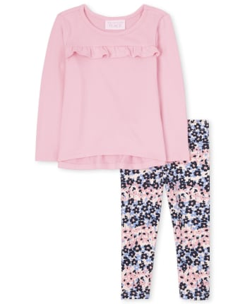 Toddler Girls Ruffle Lightweight Sweater 2-Piece Set
