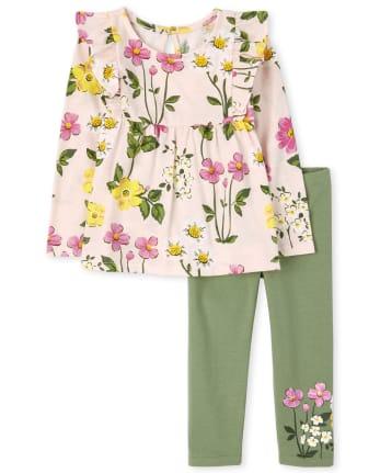Toddler Girls Floral Ruffle 2-Piece Set