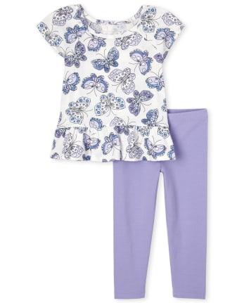Toddler Girls Butterfly Peplum 2-Piece Set