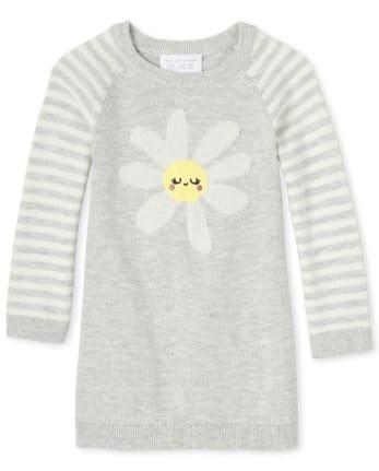 Vestido estilo suéter a rayas de margaritas para bebés y niñas pequeñas