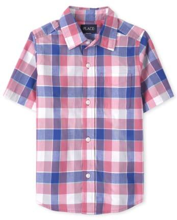 Camisa de popelina de cuadros con botones Dad And Me para niño