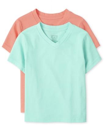 Pack de 2 camisetas con cuello en V para bebés y niños pequeños