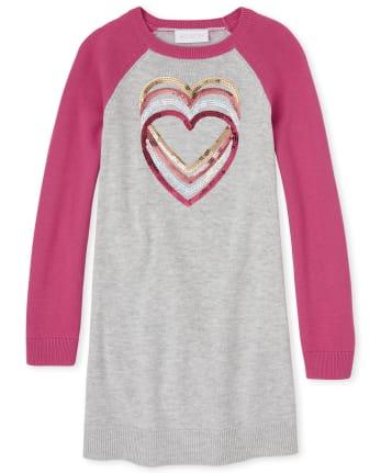 Girls Heart Raglan Sweater Dress
