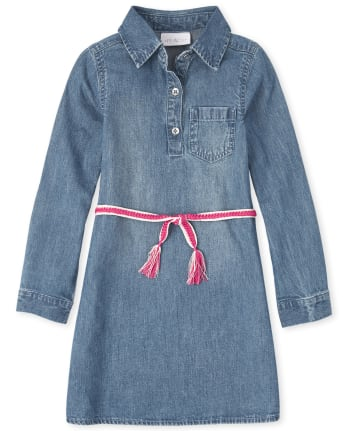 Girls Denim Shirt Dress