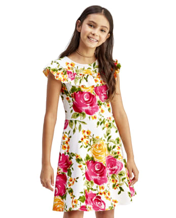 Girls Floral Ruffle Stretch Jacquard Dress