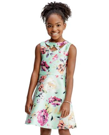 Girls Floral Cut Out Dress