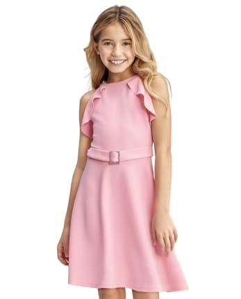 Vestido niña con volantes de jacquard elástico