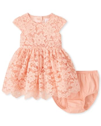 Baby Girls Lace Fit And Flare Dress