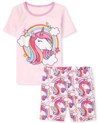 Girls Rainbow Unicorn Snug Fit Cotton Pajamas