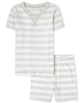 Pijama de algodón con ajuste ceñido a rayas familiares unisex para niños