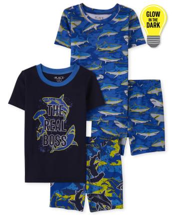 Boys Glow Shark Snug Fit Cotton Pajamas 2-Pack