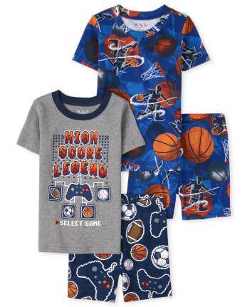 Boys Sports Snug Fit Cotton Pajamas 2-Pack