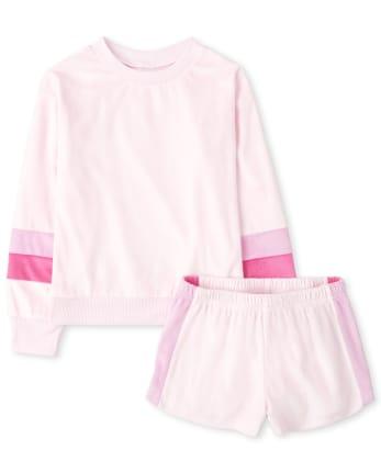 Pijama de terciopelo a rayas a juego para niñas Mommy And Me