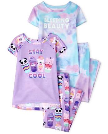 Girls Tie Dye Animal Pajamas