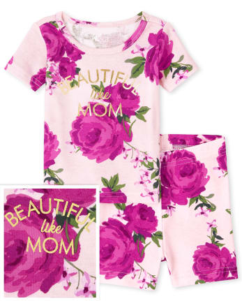 Baby And Toddler Girls Mommy And Me Floral Snug Fit Cotton Pajamas