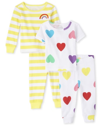 Baby And Toddler Girls Rainbow Heart Snug Fit Cotton Pajamas 2-Pack