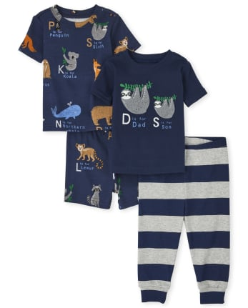 Baby And Toddler Boys ABC Sloth Snug Fit Cotton Pajamas 2-Pack