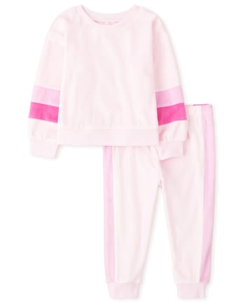Baby And Toddler Girls Mommy And Me Striped Matching Velour Pajamas