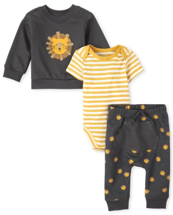 The Childrens Place Baby Boys Monkey Long Sleeve Layette Set