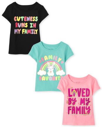 Baby And Toddler Girls Family Graphic Tee 3-Pack