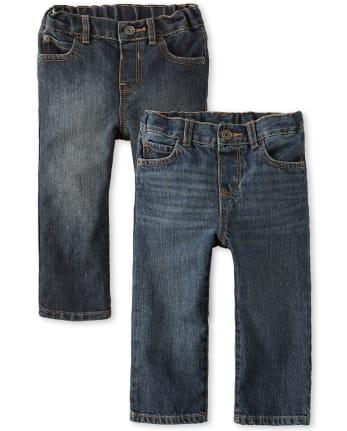 Paquete de 2 jeans rectos básicos para bebés y niños pequeños