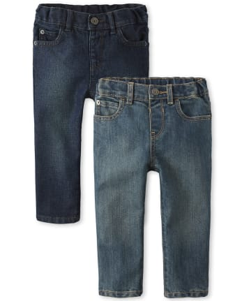 Paquete de 2 jeans ajustados básicos para bebés y niños pequeños